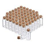 Relaxdays Glasfläschchen mit Korken, 60 Stück, Mini Fläschchen für Öl, Gewürze, Kräuter, Sand, 10 ml, Deko, transparent