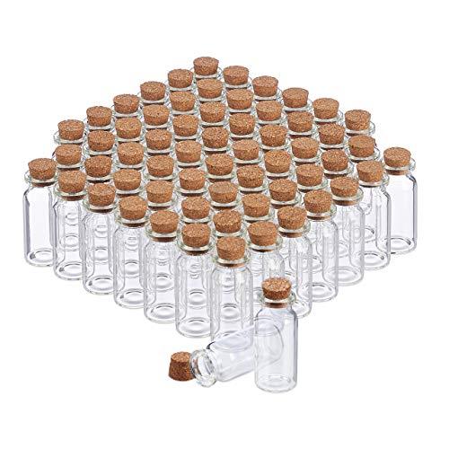 Relaxdays Vasetti in Vetro con Tappi in Sughero, 60 pezzi, Bottigliette Deco, per Oli & Spezie, 10 ml, Trasparente