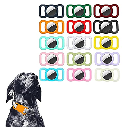 2Pcs Tags for Dogs -Pet Silicone Protective Case for Apple Airtag GPS Finder Dog Cat Collar Loop (D)