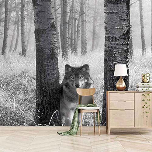 FVGKYS Papel Pintado Pared Dormitorio Infantil 3D Murales Lobo Animal Gris Bosque Autoadhesivo Fondo De Pantalla Sala De Estar Café Ktv Salón De Belleza Murales 350x256cm Tamaño Personalizado