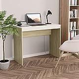WooDlan Mesa de Despacho, | Mesa de Oficina | Escritorio pequeño | Escritorio de aglomerado Color Blanco y Roble Sonoma, 90x40x72cm