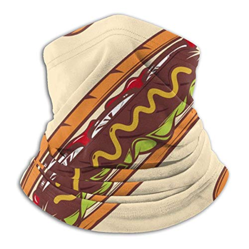 XXWKer Chapeaux Tube Masque Visage Tour de Cou Cagoule, Colorful Hot Dog Pattern Neck Warmer Scarf Men Women Funny Fleece Face Bandana Microfiber Soft Elastic Cover for Outdoor Winter Sports