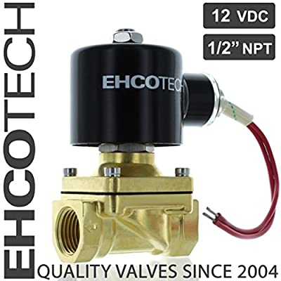 "EHCOTECH 1/2"" NPT Brass Electric Solenoid Valve 12-Volt DC (12VDC) FKM/VITON Normally Closed, N/C, Water Air Gas Fuels by EHCOTECH"