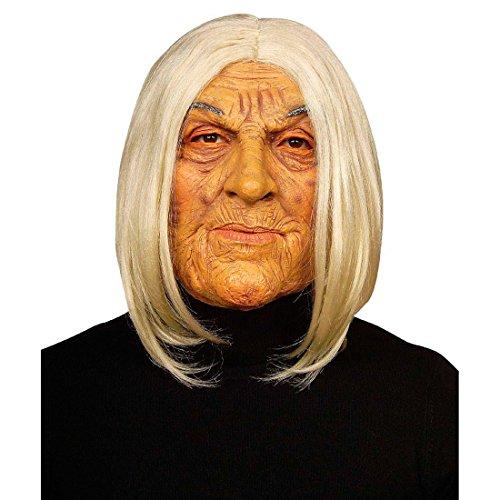 NET TOYS Masque de Grand-mère Masque Grand-mère Blanc Couleur Chair Vieille Dame Masque de Mamie Faux Visage sorcière Mardi Gras Halloween