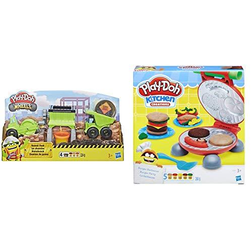 Hasbro Play-Doh-Wheels Il Cantiere, Playset con Pasta da Modellare, Multicolore, E4293Eu4 & Play-Doh-B5521Eu6 Play-Doh Kitchen Creations Il Burger Set, Colore, 0816B5521Eu6