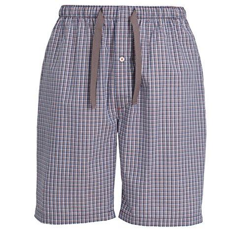TOM TAILOR Herren Kurze-Hose, Schlafhose, Pyjama-Hose - Baumwolle, Single Jersey, blau, kariert mit Eingriff 56