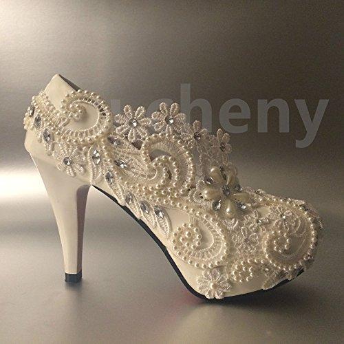 JINGXINSTORE bianco perla cristallo pizzo pompe per scarpe da matrimonio sposa taglia 5–12, White, 6.5 US