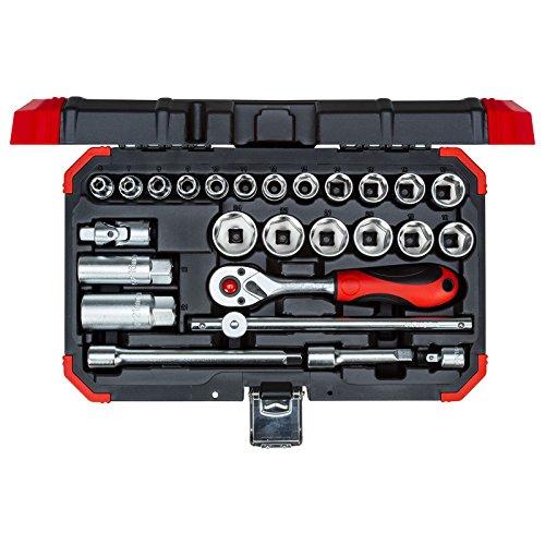 """GEDORE red Steckschlüsselsatz, 26-teilig, Mit Umschaltknarre, Ratsche, Steckschlüssel- und Zündkerzeneinsatz, 3/8\"""""""