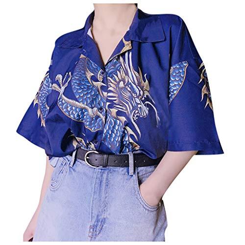 FRAUIT Damen Herren japanischen Stil T-Shirt Kimono Cardigan Hemd Mantel Strickjacke Bademantel Unisex Lose Druck Hemd Kampfkunst Uniform Strand Kimono Kleidung Bluse Top