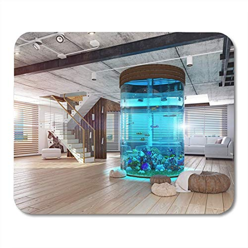 Mauspads Luxus Weißer Zylinder Das moderne Loft Interieur Aquarium 3D Mauspad für Notebooks, Desktop-Computer Matten Büromaterial