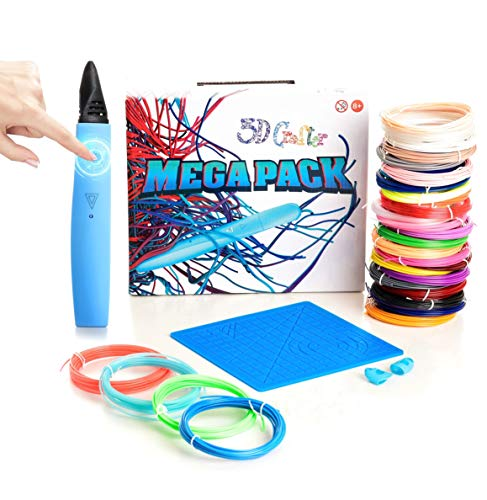 3D Pen - 3D Crafter - First ever Touchscreen Button Automatic Printing Pen Mega Set with 30 Colours PLA Filament (total 150m) Silicone Mat and Finger Caps - Drawing Arts and Crafts for Adults and Kids