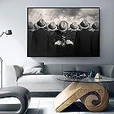 mmzki Abstrakte Versammelten Menschlichen Leinwand Malerei Mode Schwarz weißen Hut Mann Poster Drucken Für Wohnzimmer Gang Kreative Wandkunst Dekor q 60x100 cm