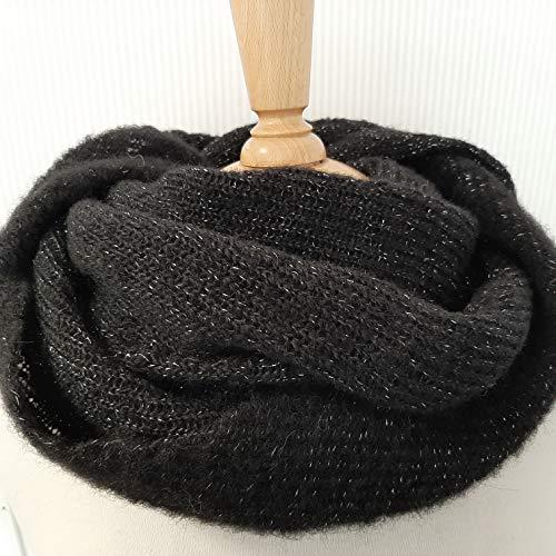 Tuch scarf Schal Schultertuch schwarz/silber Lurex Alpaka Seide alpaca silk Damen Mädchen, Kopftuch, Halstuch, gestrickt, knitted