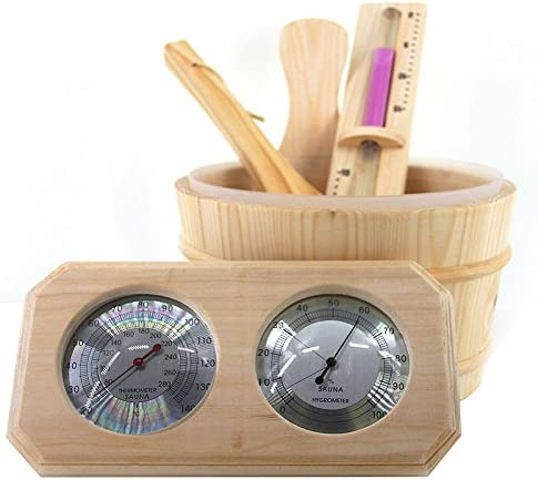ALEKO WZ00 4 Piece Deluxe Sauna Accessory Kit Includes Bucket Ladle Timer and Thermo Hygrometer product image