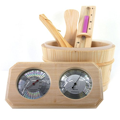 ALEKO WZ00 4 Piece Deluxe Sauna Accessory Kit Includes Bucket Ladle Timer and Thermo-Hygrometer