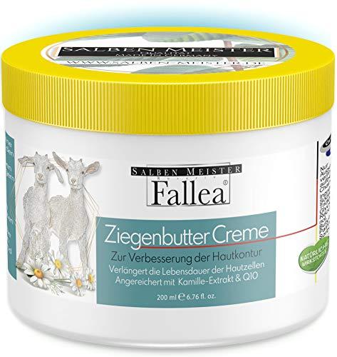 Fallea Ziegenbutter Creme mit Q10, Kamille-Extrakt und Vitamin E | Feuchtigkeitscreme für den täglichen Hautschutz