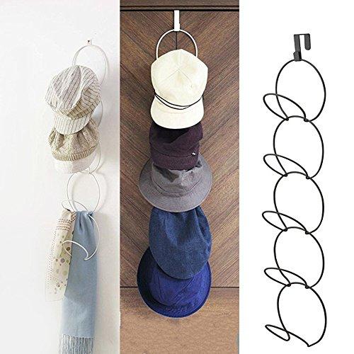 sobre la puerta sombreros para gorras de béisbol, sombrero colgante titular bandeja estante exhibición vertical del colgador bufanda metal organizador detrás armario organización hogar - blanco