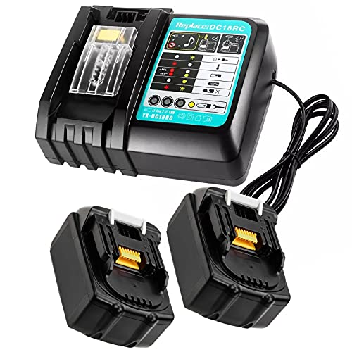 2 Pack 18V 4.0Ah Li-Ion Battery and 3A DC18RC Charger Replace for Makita, Compatible with Makita Job Site Radio DMR109W DMR109 DMR108 DMR107 DMR106 DMR112 Bluetooth Speaker DMR200 DMR202 LXT
