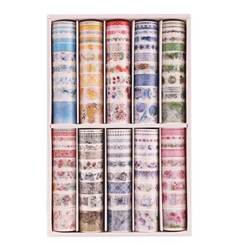 Lychii 100 Rollen Washi Tape Set, Dekoratives Klebeband, Kollektion für Bastler, verschönert Journals, Planer, Karten und Scrapbooking (Set A)