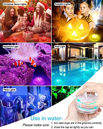 Idealife Magnet Submersible LED Lights with Remote RF, Suction Cups, Full Waterproof Pool Lights for Inground Pool Battery Color Changing Underwater Lights for Garden Pond Bathtub Hot Tub Accessories