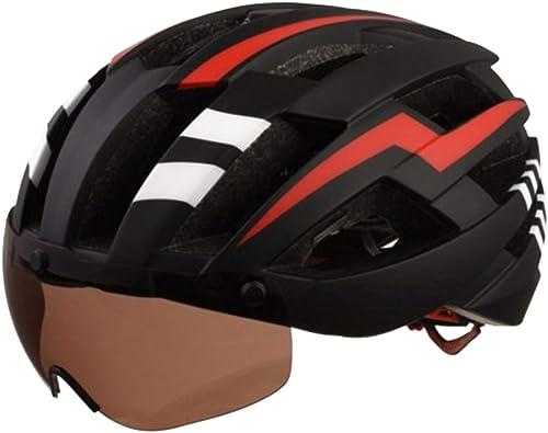 barato y de alta calidad ArojoOVL Casco de Ciclismo Ciclismo Ciclismo Casco de Bicicleta con Gafas magnéticas para hombres (Color   negro rojo)  oferta especial