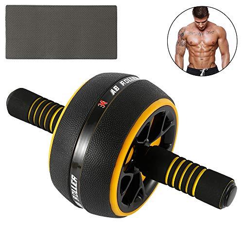 Rodillo de rueda abdominal para ejercitar abdominales, multifuncional, equipo de entrenamiento de fuerza, con alfombrilla extra gruesa para gimnasio en casa