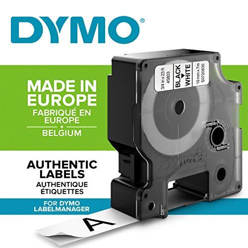 DYMO D1-Etiketten selbstklebend (schwarzer Druck auf weißem Untergrund, 19mm x 7m, für LabelManager-Etikettendrucker, authentisches Produkt)