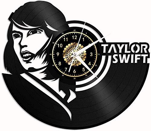 GODYS Vinyl Taylor Swift Vinyl Record Reloj de Pared Fan Art Decoración Original Decoración única Vinyl Record Black 12 (30 cm)