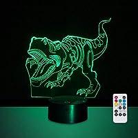 3D LEDナイトライトティラノサウルスレックス恐竜リモコン7色とタイマー機能付きLED恐竜ナイトライト