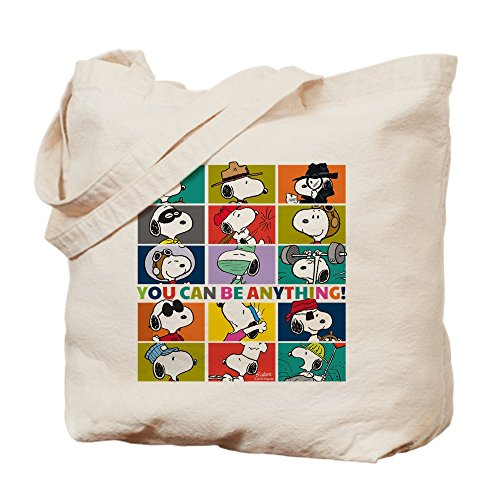 CafePress Snoopy You Can Be Anything Natural Canvas Tote Bag, Reusable Shopping Bag