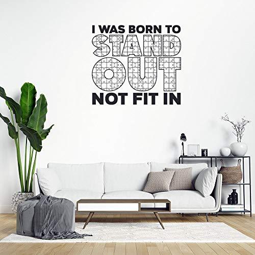 Adhesivo de PVC extraíble con texto en inglés 'I was Born to Destacar Out Not Fit in Wall Wall Stick, decoración para el hogar o la cocina