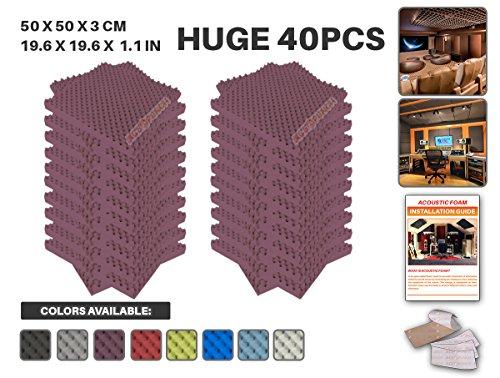 Acepunch 40 Paquet BOURGOGNE Alvéolée Mousse Acoustique Panneau Insonorisation Sonorisation Absorbeur Traitement avec Ruban Adhésif 50 x 50 x 3 cm AP1052
