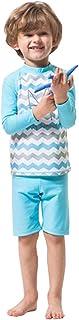 FEVON 水着 子供 男の子 女の子 ラッシュガード 長袖 ハーフパンツ 上下セット スイムウェア キッズ ガールズ ボーイズ セパレート 可愛い UVカット スイミング プール 海遊び 海水浴