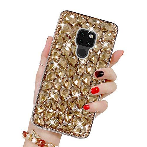 Bling Glitzer Hülle für Huawei Mate 20, Misstars 3D Diamant Strass Handyhülle Transparent Hart PC Rückschale mit Silikon TPU Rahmen Schutzhülle für Huawei Mate 20, Gold