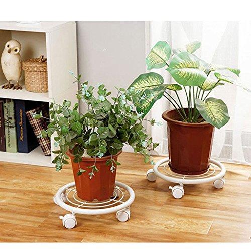 $Etagère d'exposition Porte-pot à fleurs rond mobile, étagère en fer Base de plantes Pot Stand On Wheels 2 ensembles ( Couleur : Blanc )