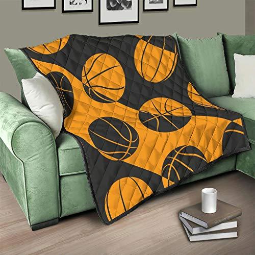 AXGM Colcha (180 x 200 cm), diseño de balones de baloncesto, color naranja y negro