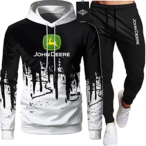 xiaosu de Los Hombres Chandal Conjunto Trotar Traje John-Deere Suéter Hooded Chaqueta + Pantalones Capucha Baloncesto Ropa Conjunto Chaquetas Chaqueta/Blanco/M