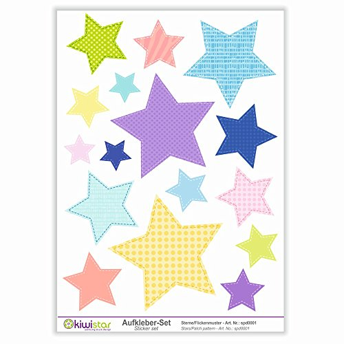 Kiwi Star étoiles Motif Patchwork, 16 étoiles, Autocollants de décoration Murale Arc Stickers Couleur Surface Totale :, Bogengröße_A1 ca. 80x60cm