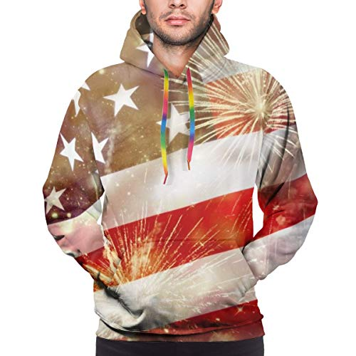 Hangdachang Celebrating Independence Day USA Flag with Fireworks Youth 3D Printed Hooide Sweatshirt with Pocket XXL