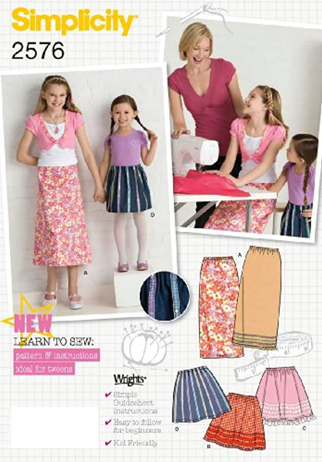 Simplicity Learn to Sew Pattern 2576 Girls Skirts Sizes 3-4-5-6