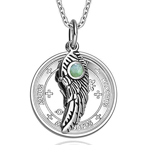 Archangel Michael Sigil Amulet Magic Powers Angel Wing Charm Green Quartz Pendant 18 Inch Necklace