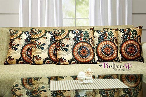 Belive-Me Jute Canvas Printed 3D Cushion Cover Set of 5