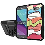 [NakedShield] [Black/Black] Total Defense Armor Case [Kickstand] [Holster] - [Color Waves] Compatible for Samsung Galaxy [2017] [J3 Emerge] [5' Screen]