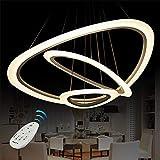Vi-xixi LED a sospensione luce moderna Lampadario in acrilico regolabile in altezza tre triangolo anelli 3 colori lampada a sospensione (74cm)