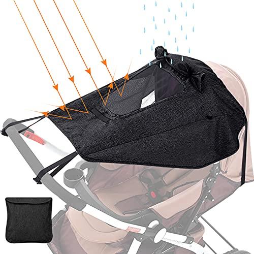 Parasol carro bebe,GeeRic sombrilla carrito bebe universal con protección lateral,Toldo universal Impermeable Funda para Cochecito de Bebé, Protección solar con UV 50+, Ajustable
