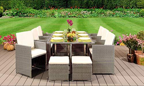EIVD - Set di mobili da giardino in rattan, con sedie, divano, tavolo da esterno, 10 posti, colore: E)