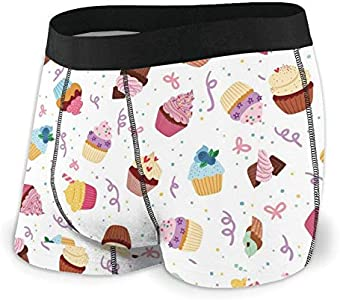 Yuanmeiju Mens Boxer Shorts Fitted Bragas Little Delicious Cupcakes Trunks Quick Dry Ropa Interior