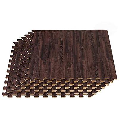 "Forest Floor 3/8"" Thick Printed Wood Grain Interlocking Foam Floor Mats, 100 Sq Ft (25 Tiles), Walnut"
