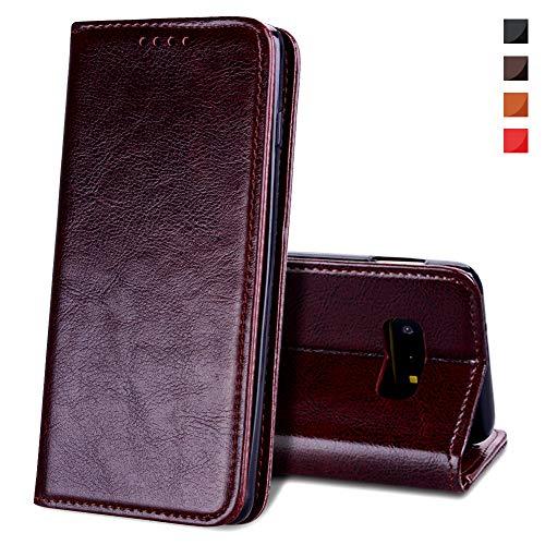 EATCYE Hülle für Samsung Galaxy S10e, [Echtleder] Handyhülle [Extra Dünn] Brieftasche flip Lederhülle Schutzhülle [Versteckt Magnet] Premium Design Echt Leder Brieftasche - Braun