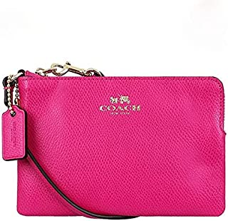 Coach F53429 IMBAJ Cross-grain Leather Corner Zip Wristlet purse- Pink Ruby